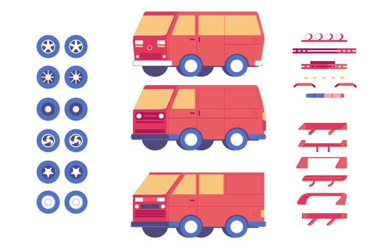 Van vehicle parts customisation mod illustration set vector