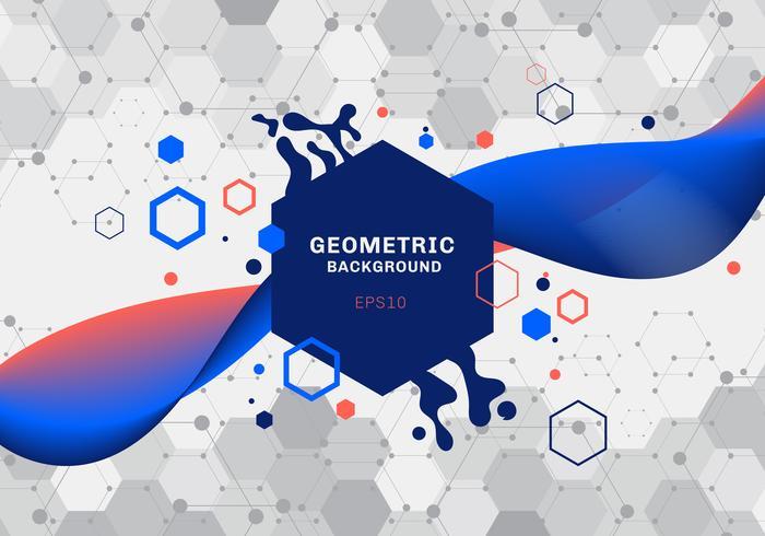 La composición abstracta de formas geométricas y los hexágonos azules y anaranjados del chapoteo modelan la molécula con el color flúido de la pendiente que fluye en el fondo blanco. Elementos para la plantilla de diseño de comunicaciones modernas, medici