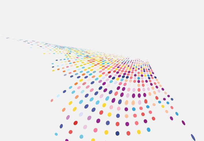 Abstrakt färgglada halvton textur våg punkter mönster perspektiv isolerad på vit bakgrund. vektor