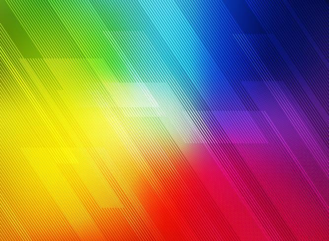 Linhas geométricas diagonais abstratas modelam a tecnologia no fundo colorido dos inclinações do arco-íris. vetor
