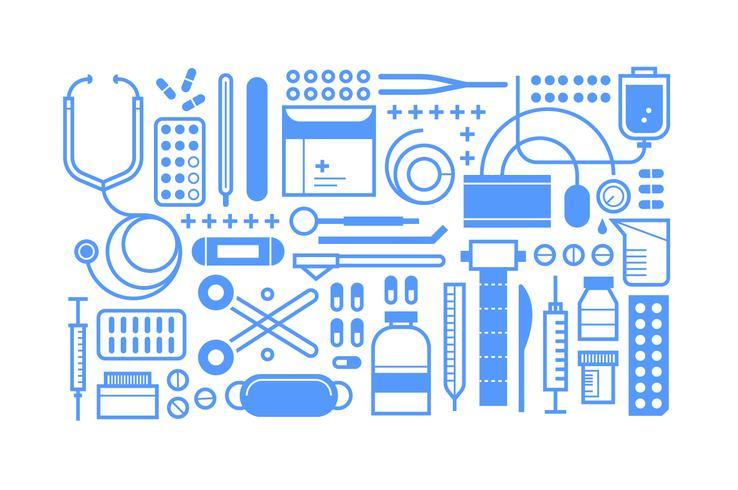 Set di strumenti medici piatti