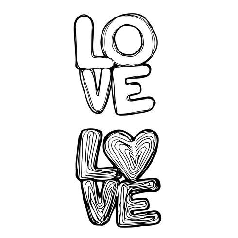 Texto de diseño de letras manuscritas de amor
