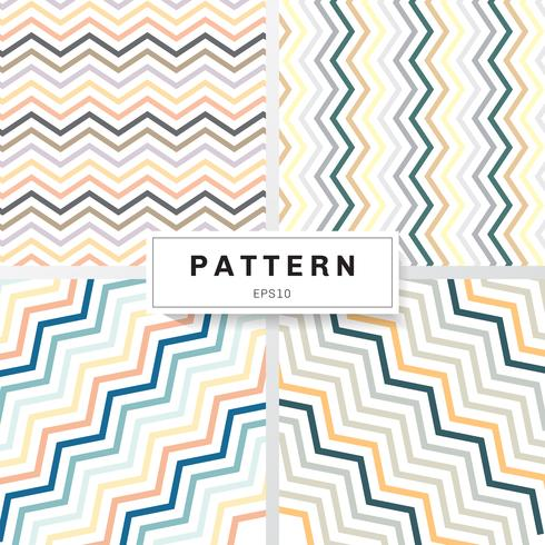 Reeks van de pastelkleurenkleur van chevronpatronen op witte achtergrond. Geel, oranje, diepblauw, bruin, groen, grijs. Perfect voor wallpapers en patroonvullingen zigzag.
