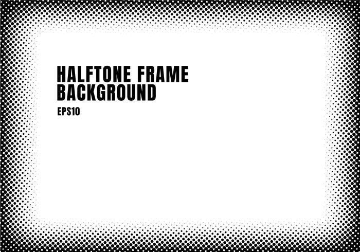 Marco de semitono negro de la textura de los puntos en el fondo blanco con el espacio de la copia. Monocromo manchado marco para banner web, folleto, cartel, folleto, folleto, presentación, etc.