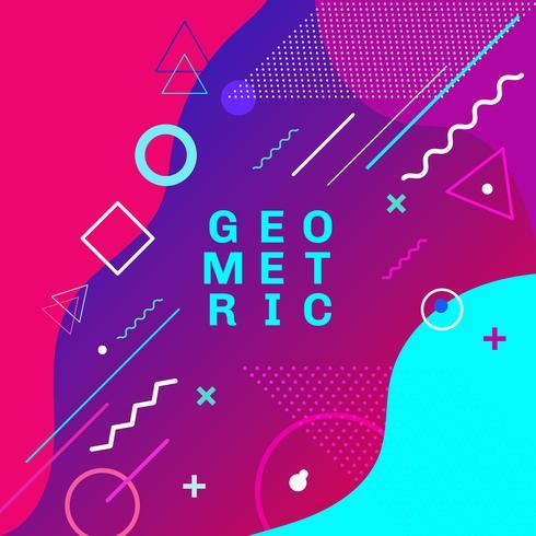 Formes géométriques colorées abstraites et formes mode tendance memphis style carte design fond. Vous pouvez utiliser pour poster, brochure, mise en page, modèle ou présentation. vecteur
