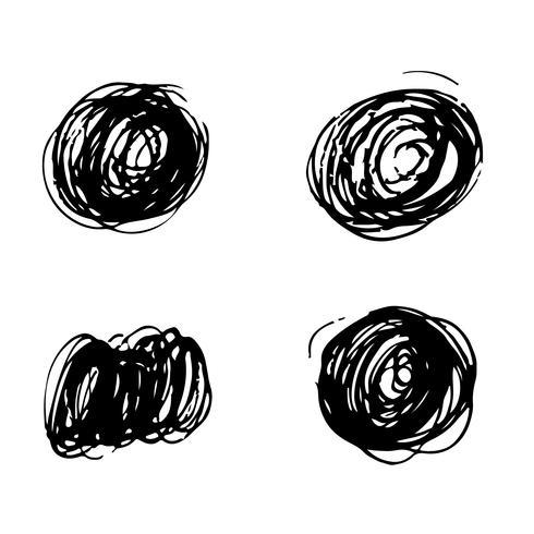 Hand drawn brush stroke ink sketch line vector