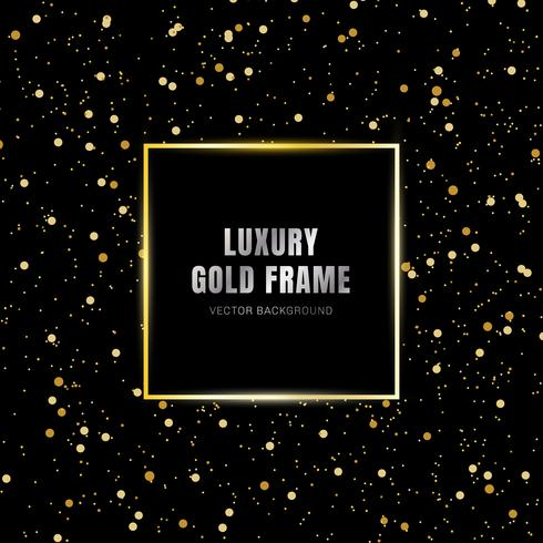 Glold glowing magic square frame on glitter sparkle trail effect on black background. Luxury style. vector