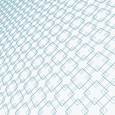 Abstract blue lines squares pattern overlapping perspective on white background.