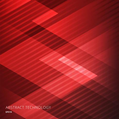 Abstract elegant geometric triangles red background with diagonal lines pattern. Technology style. vector
