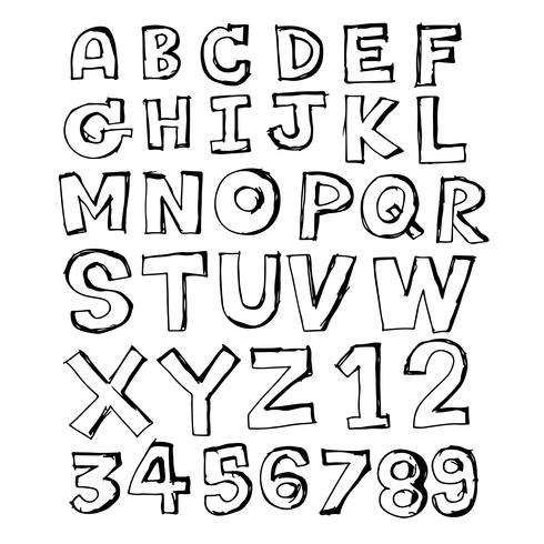 Doodle disegnati a mano design dei caratteri