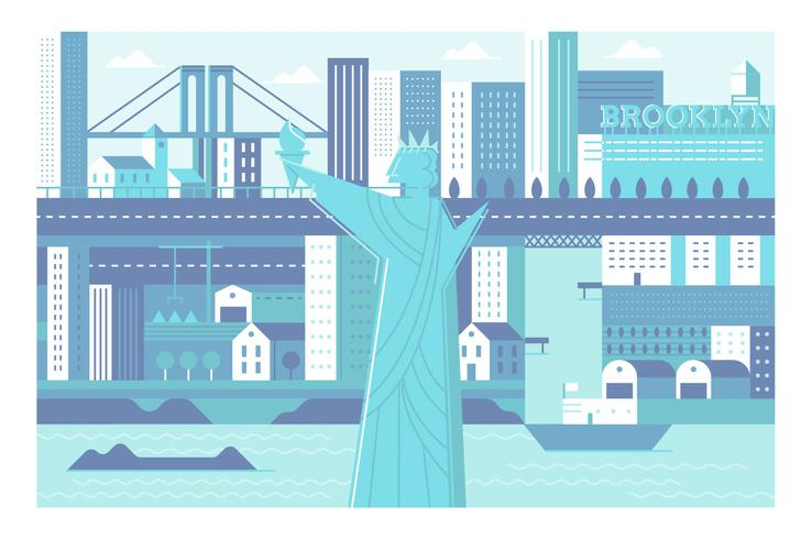 City landmark New York illustration background