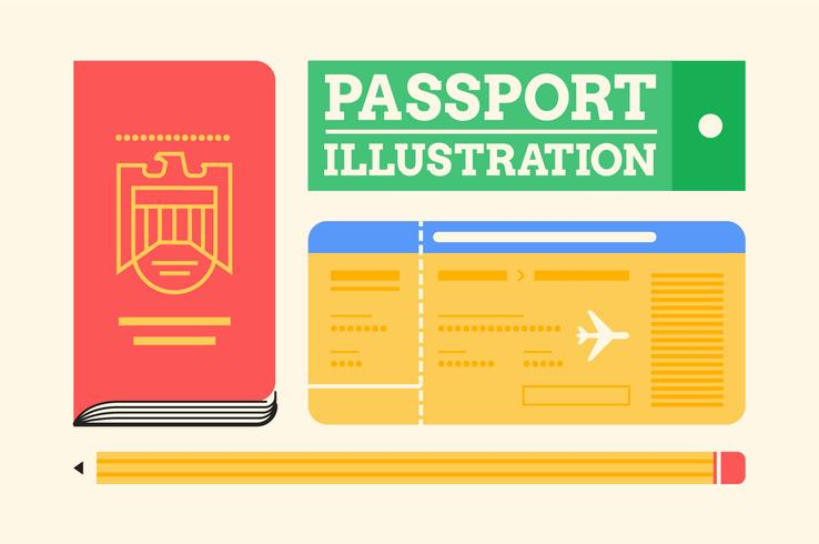 Paspoort reizen essentials illustratie set