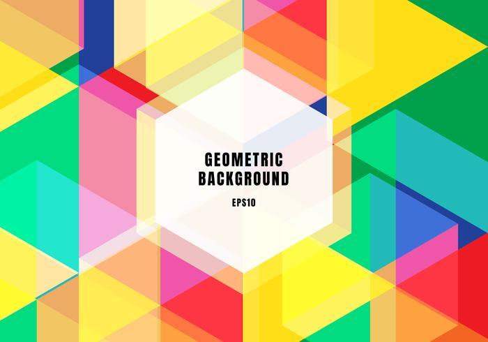 Abstrakt bakgrund färgglada geometriska hexagoner överlappande trendiga koncept.