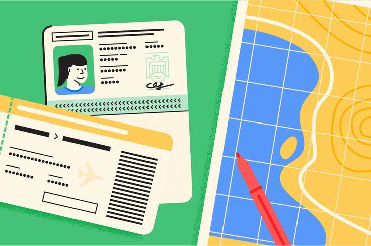 Conjunto de ilustración de elementos esenciales de viaje de pasaporte