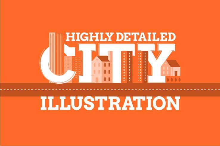 Achtergrond van de de typografieillustratie van het stadsoriëntatiepunt