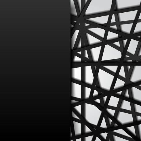 Abstract template black lines futuristic overlapping white background. Digital connection.