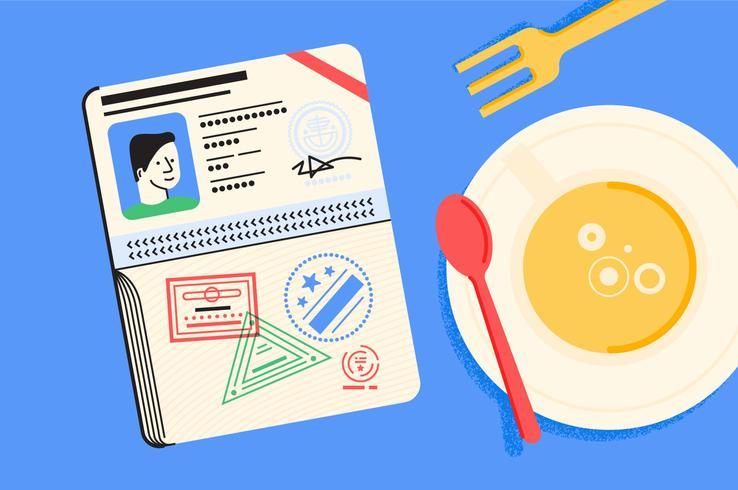 Passreiseutensilien-Illustrationssatz
