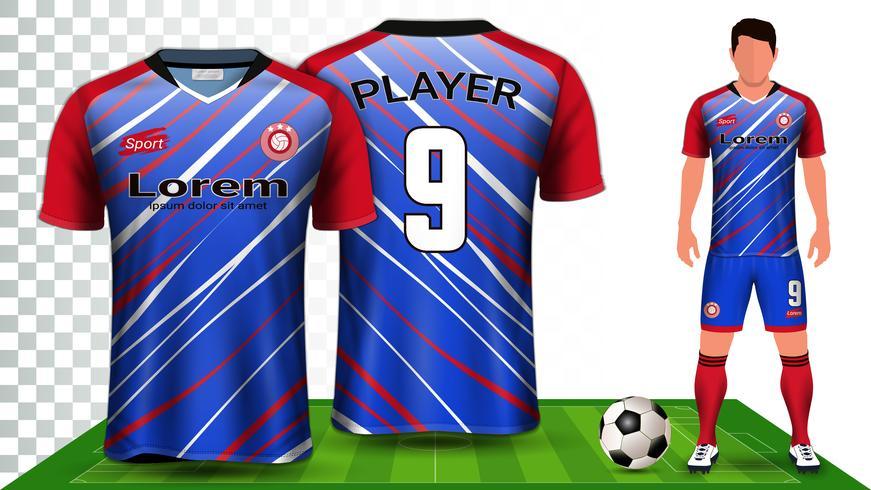 Vorlage für Fußball-Trikot- und Fußball-Ausrüstungspräsentation, Vorder- und Rückansicht, einschließlich Sportkleidung.
