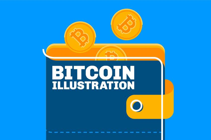 Bitcoin wallet concept illustration set