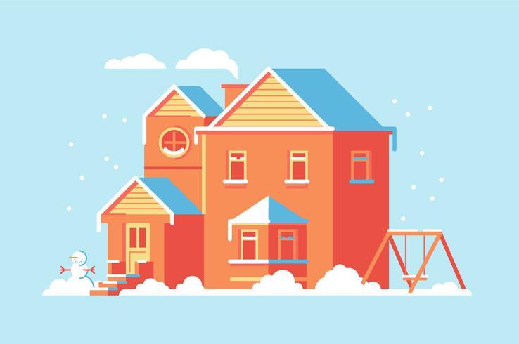 Casa plana edifício ilustração de fundo