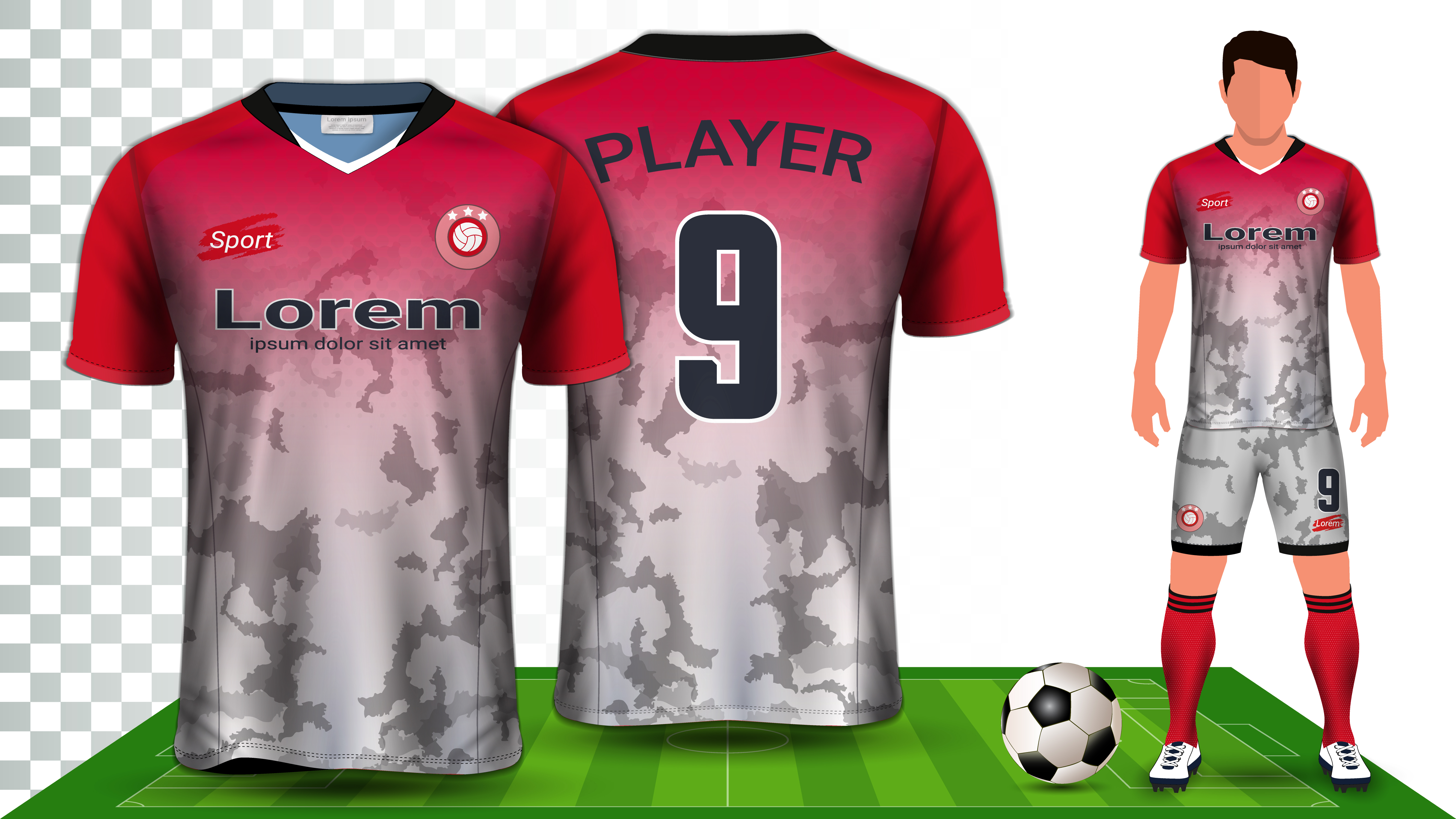 soccer jersey and football kit presentation mockup template front and back view including sportswear uniform vector