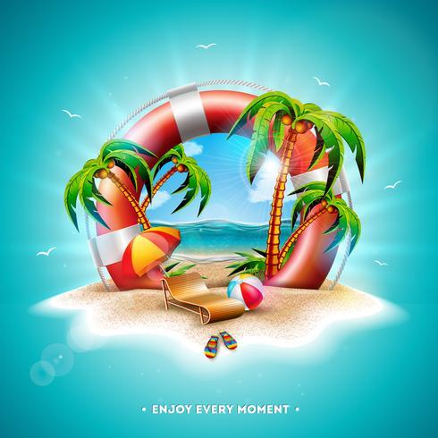 Ejemplo de las vacaciones de verano del vector con el salvavidas y las palmeras exóticas en fondo tropical de la isla. Flor, pelota de playa, sombrilla y paisaje azul marino.