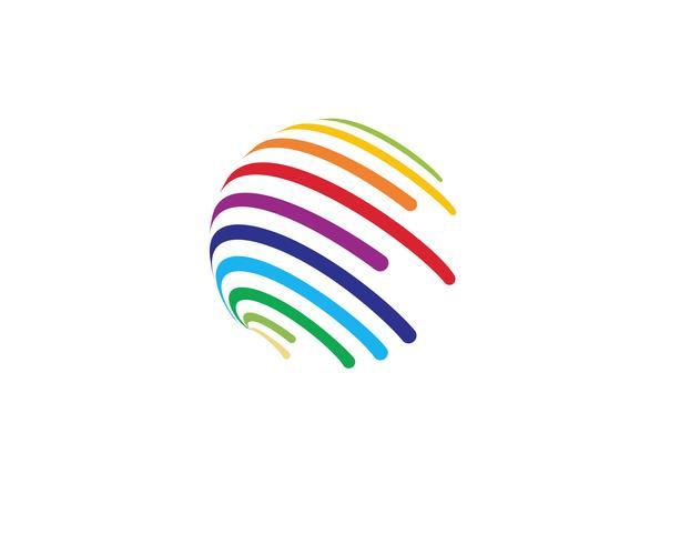 Icône du logo monde fil coloré - Vecteurs