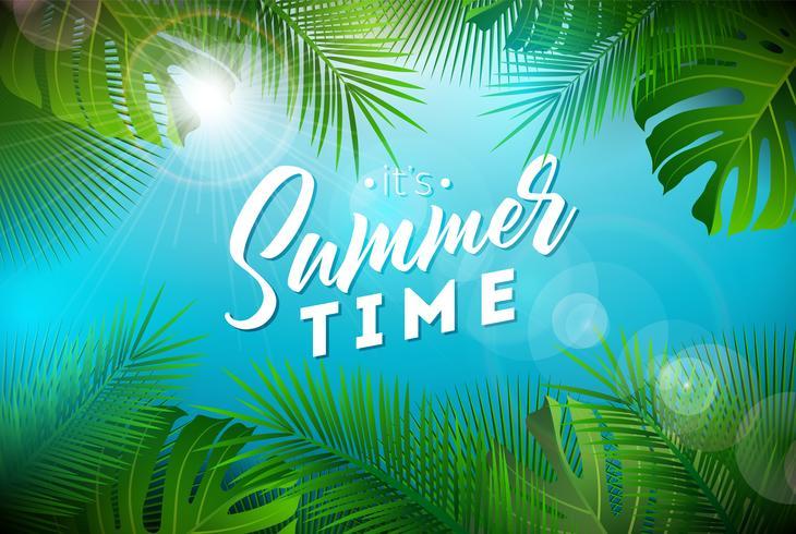 Illustrazione di ora legale con la lettera di tipografia e le piante tropicali sul fondo dell'oceano blu. Vector Holiday Design con foglie di palma esotiche e filodendro