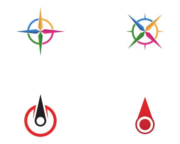 Progettazione dell'illustrazione dell'icona di vettore del modello di logo della bussola