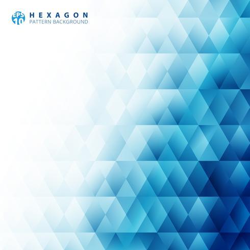 Fundo branco e textura do teste padrão geométrico azul abstrato do hexágono com espaço da cópia. Modelos de design criativo.