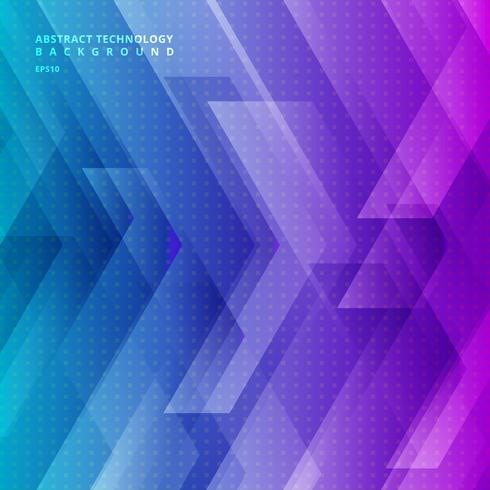 Abstract blue and purple gradient color tech diagonal geometric background with big arrows sign digital and stripes technology concept. Space for your text. vector