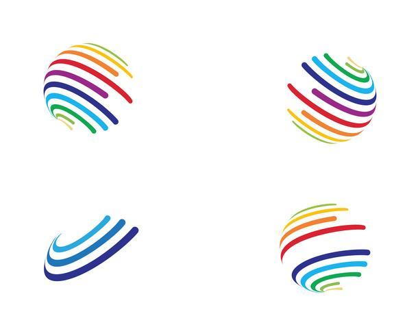 Colorido icono de logo de mundo de alambre - Vectores