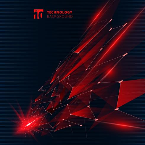 Abstrakte Dreiecke der Technologie rote Farbmit Lichteffektlinien, die Punktstrukturperspektive auf dunklem Hintergrund anschließen.