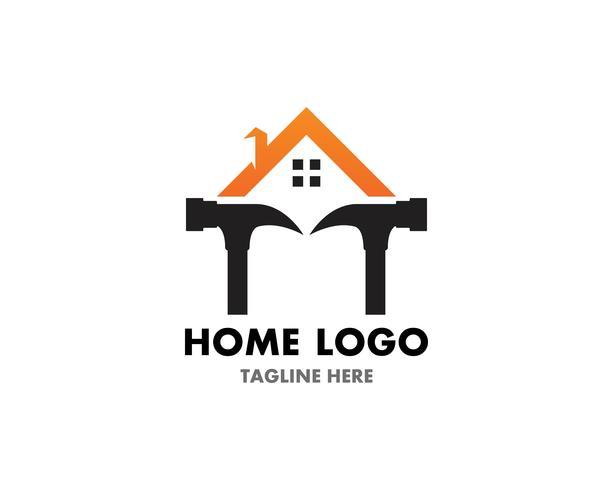 Modello e simbolo di vettore di logo di riparazione domestica