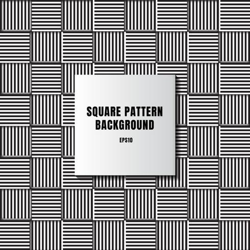 Il mosaico in bianco e nero astratto dei quadrati con le linee verticali ed orizzontali modella la grata fondo e struttura
