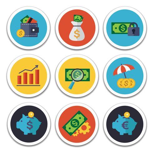Conjunto de ícones de finanças e bancos