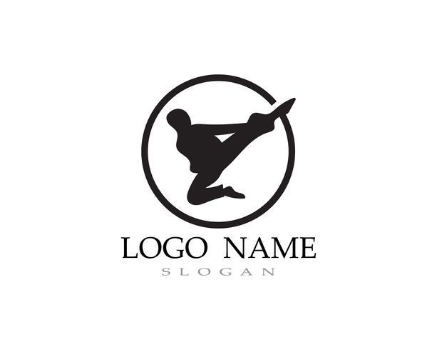 Karaté et taekwondo logo vecteur de combat