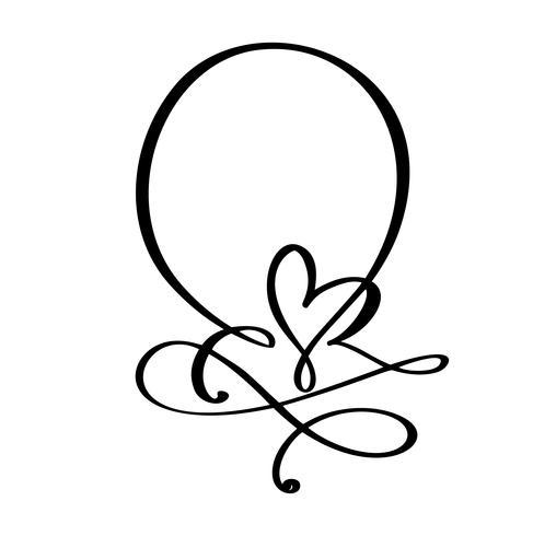 Los marcos dibujados mano del vintage citan con el corazón para el día de tarjetas del día de San Valentín o la frase romántica del día de fiesta, casandose la impresión. Flourish ilustración vectorial con espacio para su texto