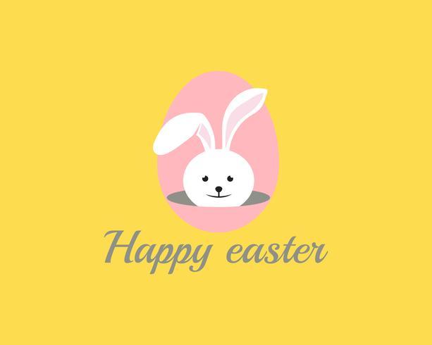 Gelukkig Pasen-konijn in achtergrondvector