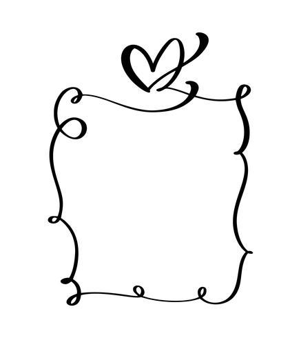 Handtecknad vintageramar citat med hjärta för Alla hjärtans dag eller romantisk semester fras, bröllopsutskrift. Blomstra vektor illustration med plats för din text