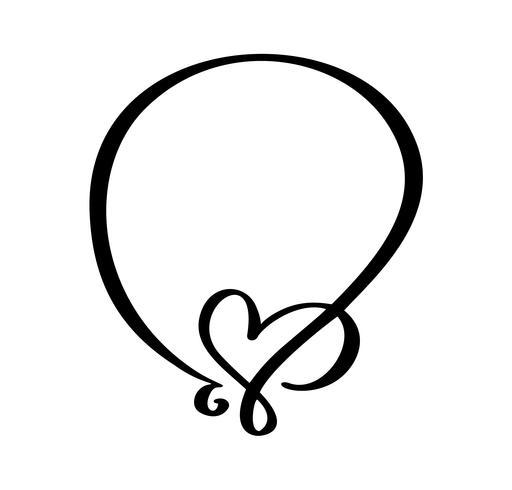 Hand gezeichnete Weinlese gestaltet Zitat mit Herzen für Valentinstag oder romantische Feiertagsphrase. Flourishvektorabbildung mit Platz für Ihren Text