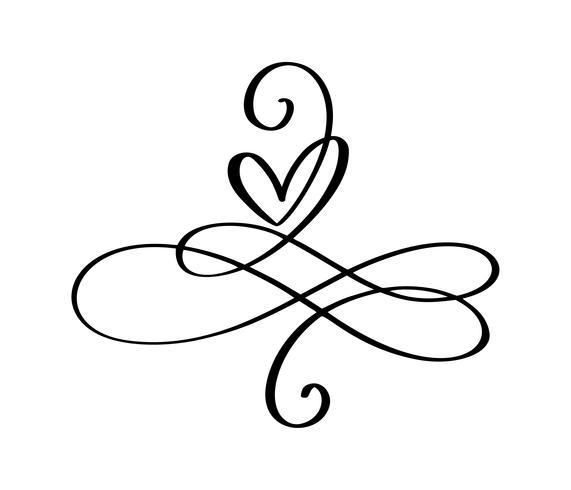 Coeur d'amour Dans le signe de l'infini. Inscrivez-vous sur la carte postale à la Saint-Valentin, impression de mariage. Calligraphie de vecteur et lettrage illustration isolé sur fond blanc