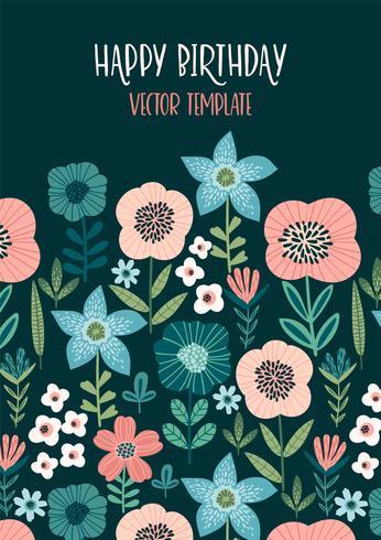 Diseño floral del vector con las flores lindas. Plantilla para tarjeta, cartel, flyer, decoración del hogar.