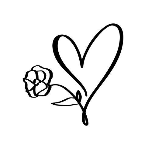 Dibujado a mano corazón y flor signo de amor. Vector romántico del ejemplo de la caligrafía para el día de tarjetas del día de San Valentín y la boda. Símbolo de icono de concepto para camiseta, tarjeta de felicitación, cartel