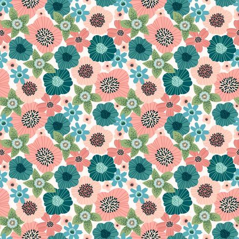 Padrão sem emenda floral. Desenho vetorial para papel, capa, tecido, decoração de interiores
