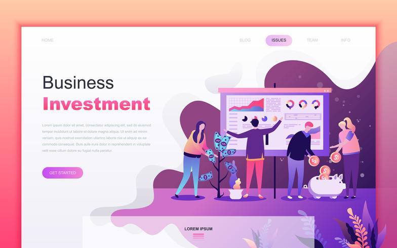Modernt platt tecknade designkoncept för företagsinvesteringar för webbutveckling och mobilapputveckling. Målsida mall. Inredda personer karaktär för webbsida eller hemsida. Vektor illustration.