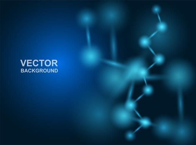 Abstract.moleculen ontwerp. Atomen. Medische of wetenschappelijke achtergrond. Moleculaire structuur met blauwe bolvormige deeltjes. Vector illustratie.
