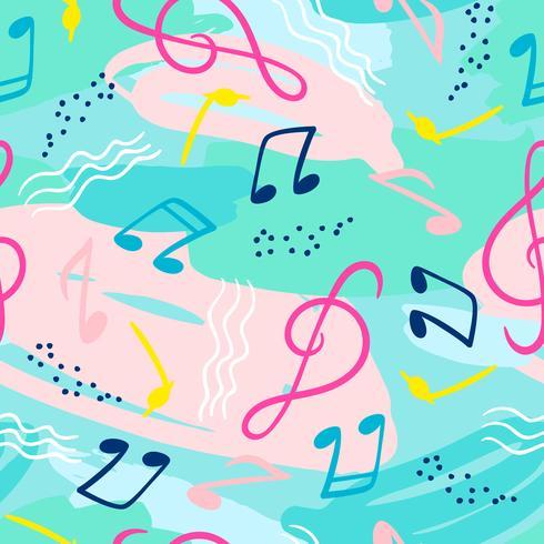Patrón sin fisuras con notas musicales. Vector mano dibujar fondo