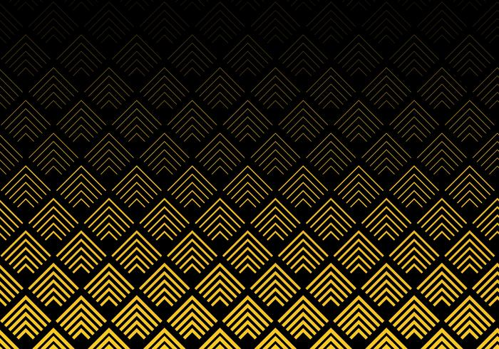 Abstract gold color chevron lines pattern on black background. Geometric tracery. vector