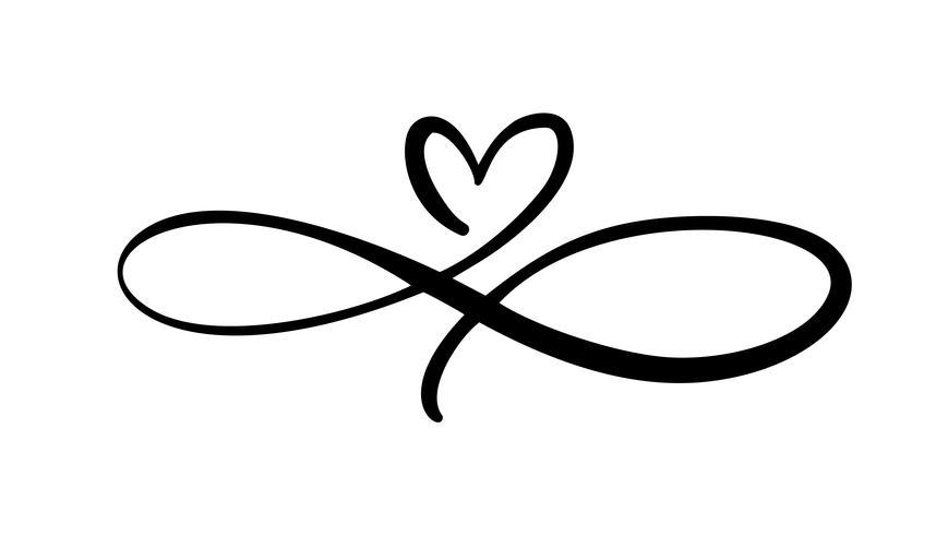 Amore cuore Nel segno dell'infinito. Firma sulla cartolina per il giorno di San Valentino, stampa il matrimonio. Vector calligrafia e lettering illustrazione isolato su uno sfondo bianco